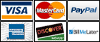 PayPal, Bill Me Later, Credit Cards: Visa, Mastercard, American Express, Discover