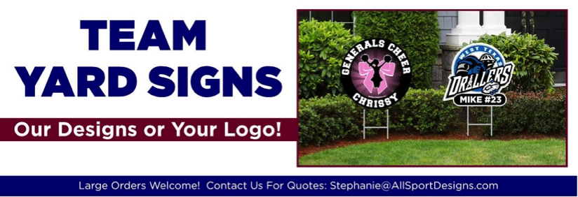 A set of custom sport yard signs designed by All Sport Designs